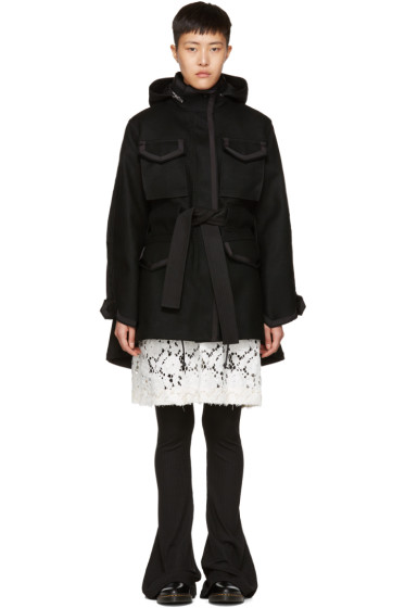 Sacai - Black Wool Coat