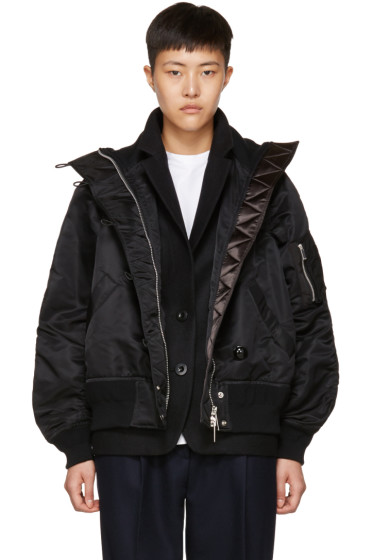 Sacai - Black Ruched MA-1 Bomber Jacket