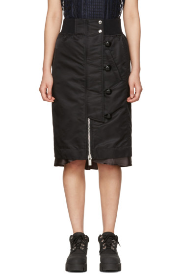 Sacai - Black Nylon MA-1 Skirt