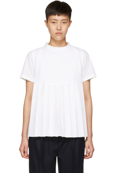Sacai - White Bib Blouse