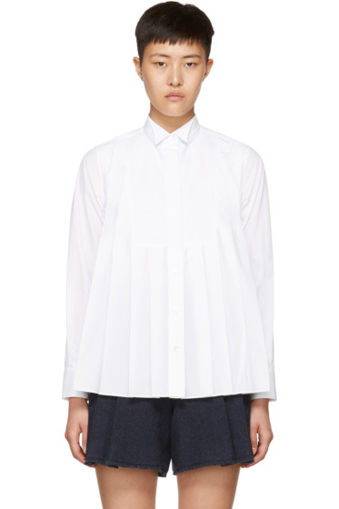 Sacai - White Pleated Bib Shirt