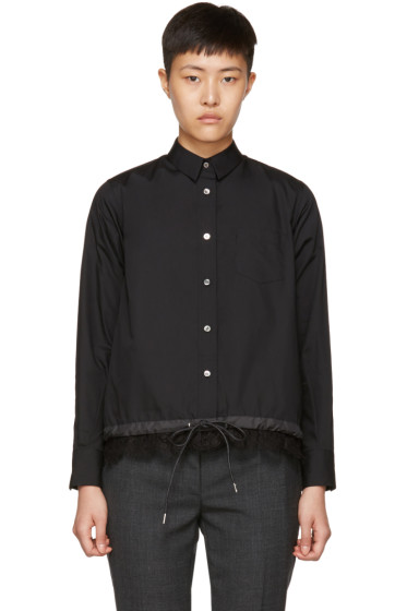 Sacai - Black Drawstring & Lace Shirt