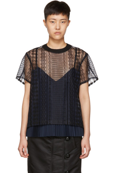 Sacai - Navy & Black Cable Lace Blouse