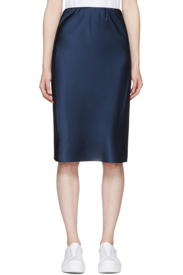 6397 - Blue Silk Bias Cut Skirt
