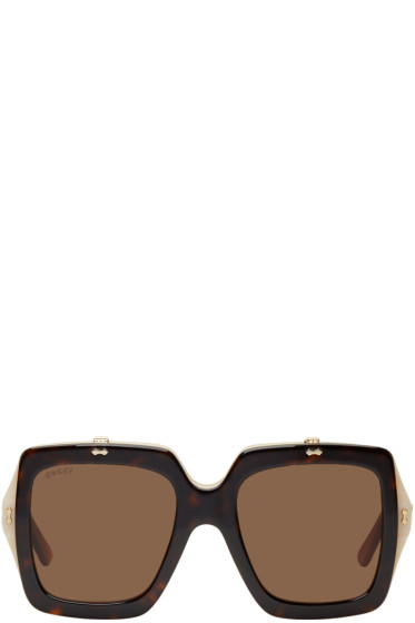 Gucci - Tortoiseshell Oversized Square Flip-Up Sunglasses