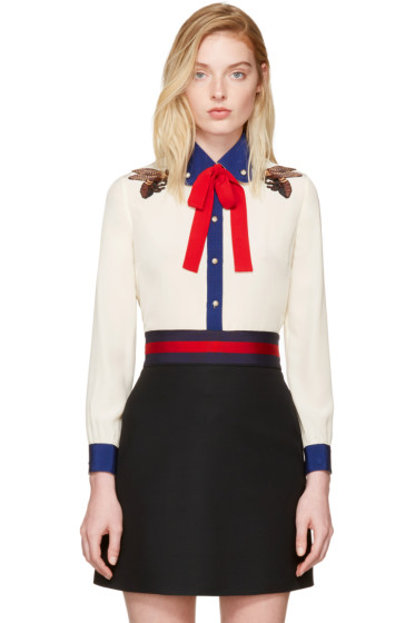 Gucci - Off-White Silk Bee Blouse