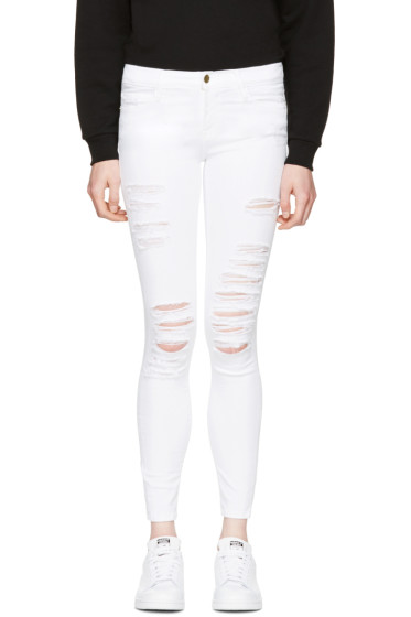 Frame Denim - White Le Color Ripped Jeans