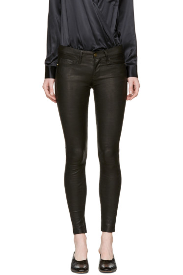 Frame Denim - Black Leather 'Le Skinny De Jeanne' Pants