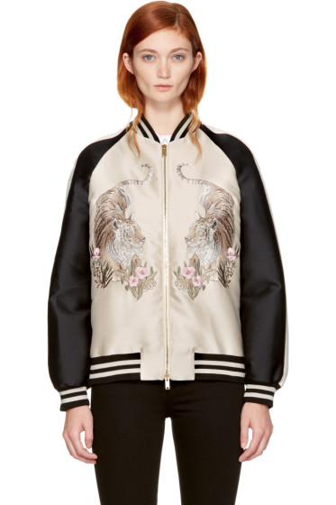 Stella McCartney - Beige Lorinda Tiger Bomber Jacket