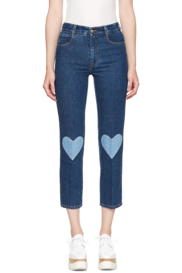 Stella McCartney - Blue High Waist Cropped Skinny Jeans