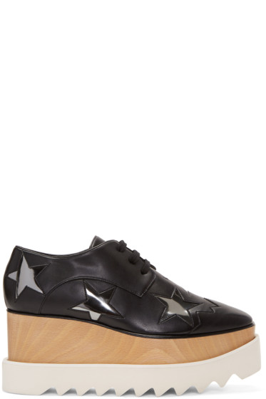 Stella McCartney - Black & Silver Elyse Star Platform Derbys