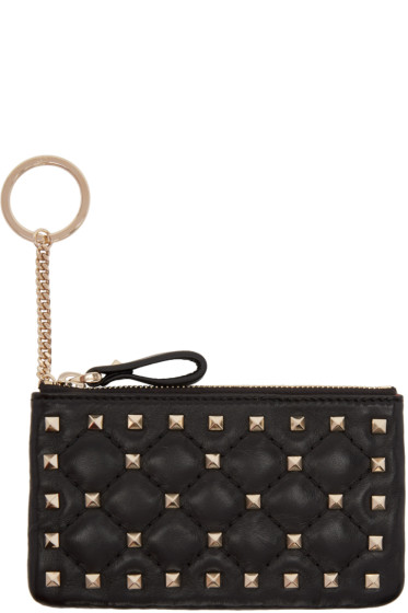 Valentino - Black Rockstud Spike Coin Pouch