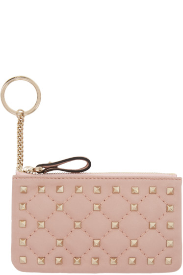 Valentino - Pink Rockstud Spike Coin Pouch