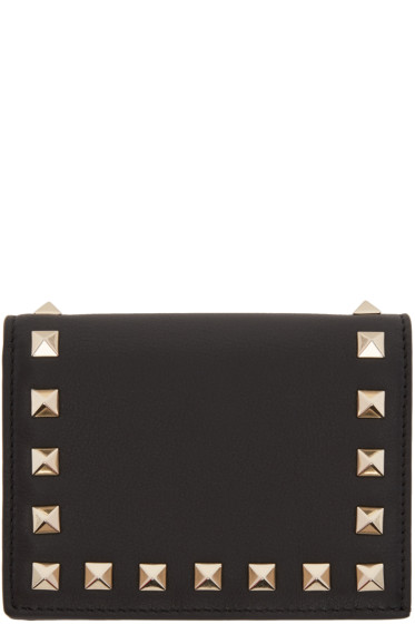 Valentino - Black Small Rockstud French Flap Wallet