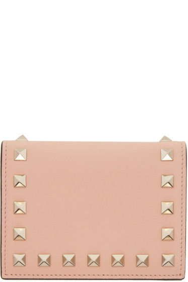 Valentino - Pink Small Rockstud French Flap Wallet