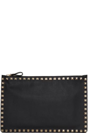 Valentino - Black Rockstud Zip Pouch