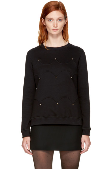 Valentino - Black Scalloped Rockstud Sweatshirt