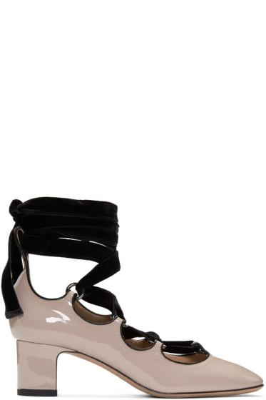 Valentino - Pink Patent & Velvet Ghillie Heels