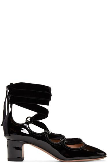 Valentino - Black Patent & Velvet Ghillie Heels