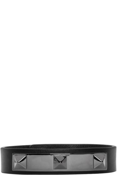 Valentino - Black Three Stud Bracelet