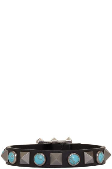 Valentino - Black & Blue Rolling Rockstud Bracelet