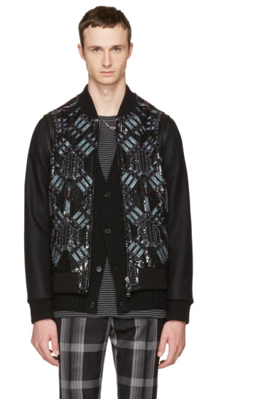 Valentino - Black Embroidered Sequin Love Blade Bomber Jacket