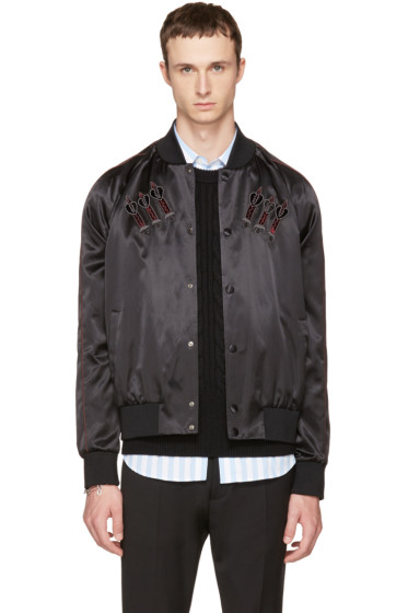 Valentino - Black Embroidered Love Blade Bomber Jacket