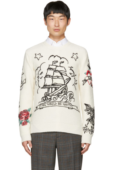 Valentino - Off-White 'You Would Be North' Tattoo Sweater