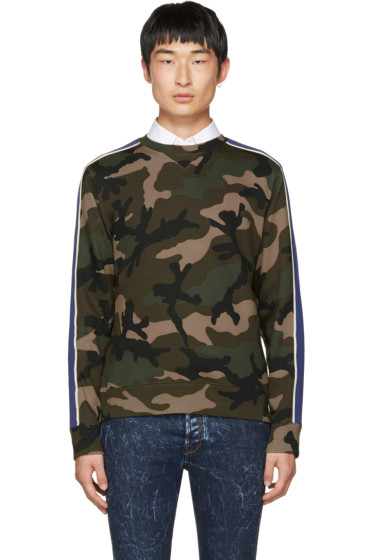 Valentino - Brown Camo Stripe Sweatshirt