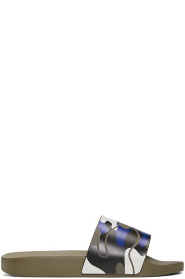 Valentino - Blue Camo Slides