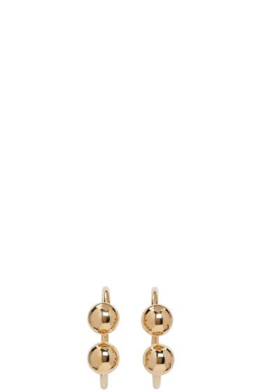 J.W. Anderson - Gold Double Ball Hoop Earrings