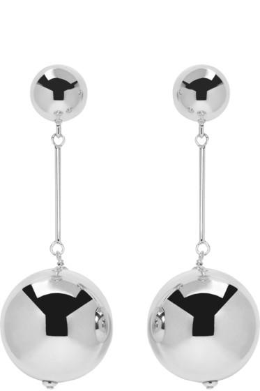 J.W. Anderson - Silver Sphere Drop Earrings