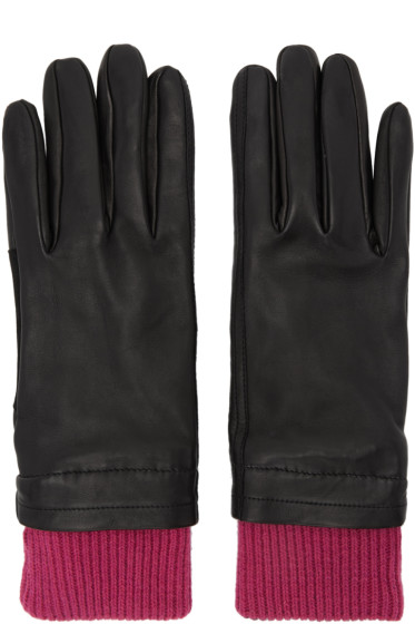 AMI Alexandre Mattiussi - Black & Purple Rib Cuff Gloves
