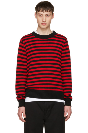 AMI Alexandre Mattiussi - Black & Red Striped Sweater