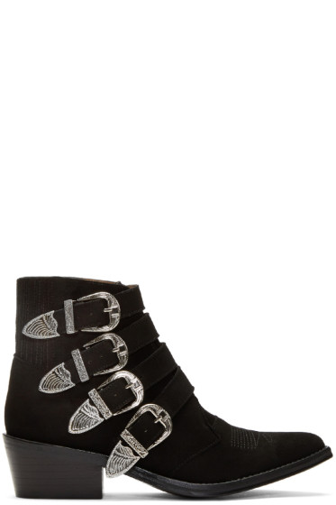 Toga Pulla - Black Suede Four-Buckle Western Boots