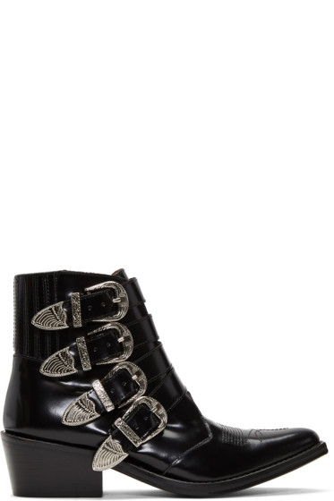 Toga Pulla - Black Four-Buckle Western Boots