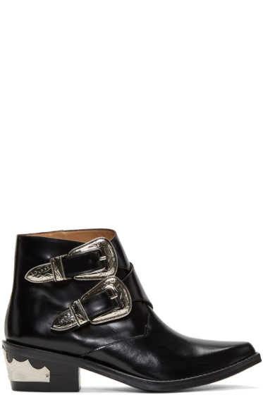 Toga Pulla - Black Two-Buckle Western Boots