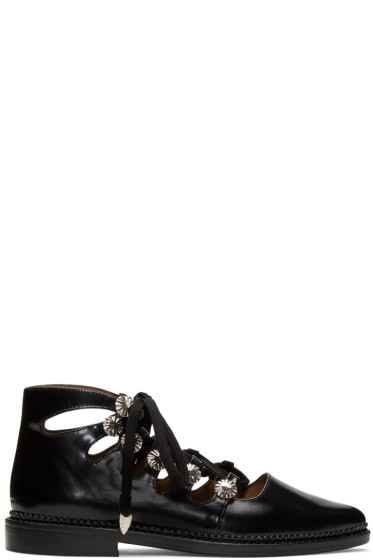 Toga Pulla - Black Lace-Up Flats