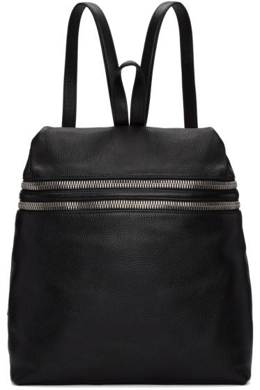 Kara - Black Large Double Zip Leather Backpack