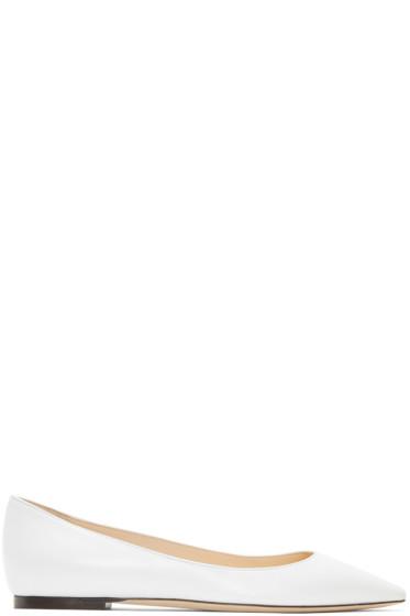 Jimmy Choo - White Leather Romy Ballerina Flats