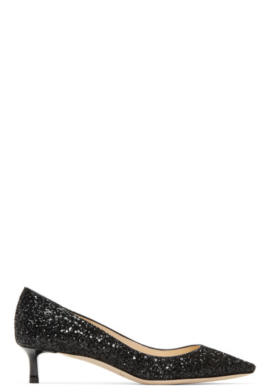 Jimmy Choo - Black Glitter Romy Heels