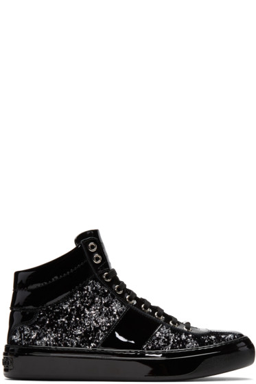 Jimmy Choo - Black & Silver Velvet Belgravia High-Top Sneakers