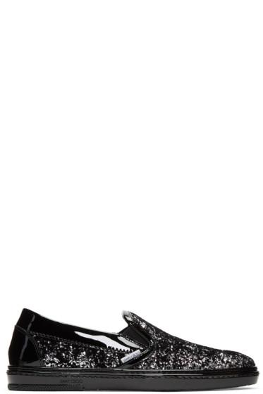 Jimmy Choo - ブラック & シルバー ベルベット グロープ スリッポン スニーカー