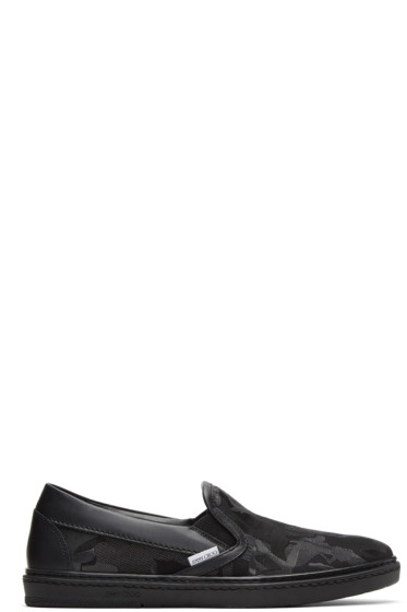 Jimmy Choo - Black Camouflage Grove Slip-On Sneakers