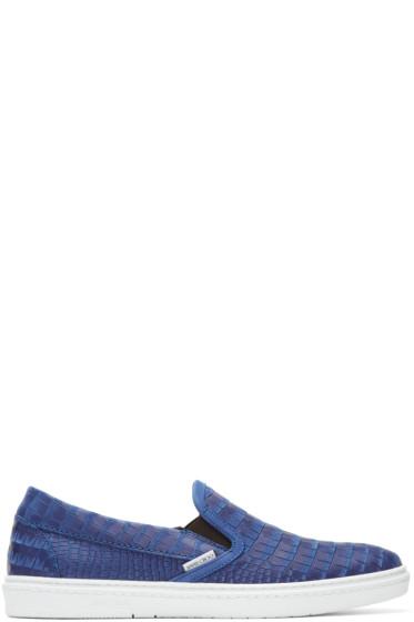 Jimmy Choo - ブルー クロコエンボス グローブ スリッポン スニーカー