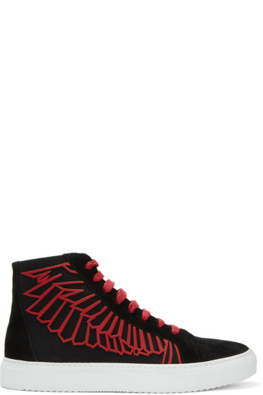 Marcelo Burlon County of Milan - Black & Red Coralie Wings High-Top Sneakers