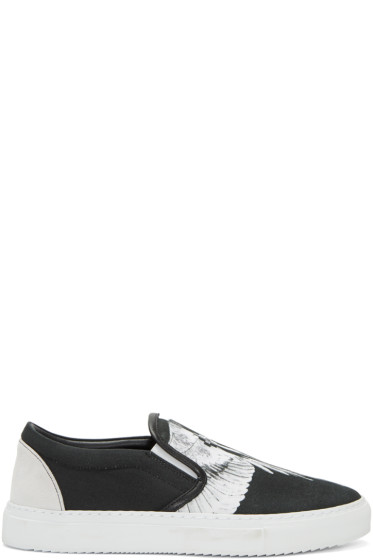 Marcelo Burlon County of Milan - Black & White Aish Slip-On Sneakers