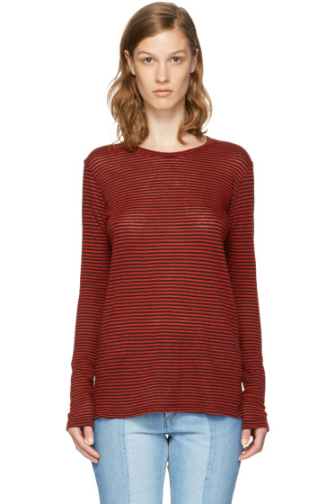 Isabel Marant Etoile - Red Long Sleeve Striped Aaron T-Shirt
