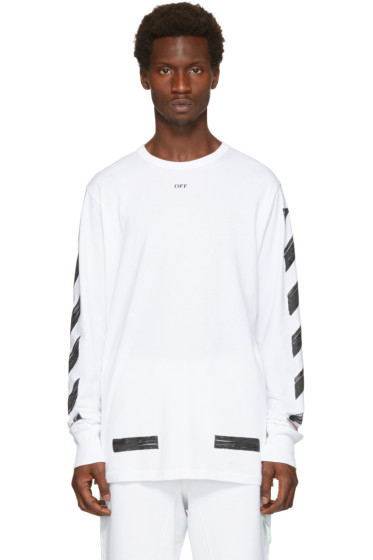 Off-White - White Diagonal Brushed T-Shirt