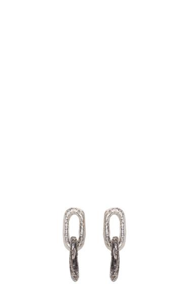 Pearls Before Swine - Silver Double Link Earrings